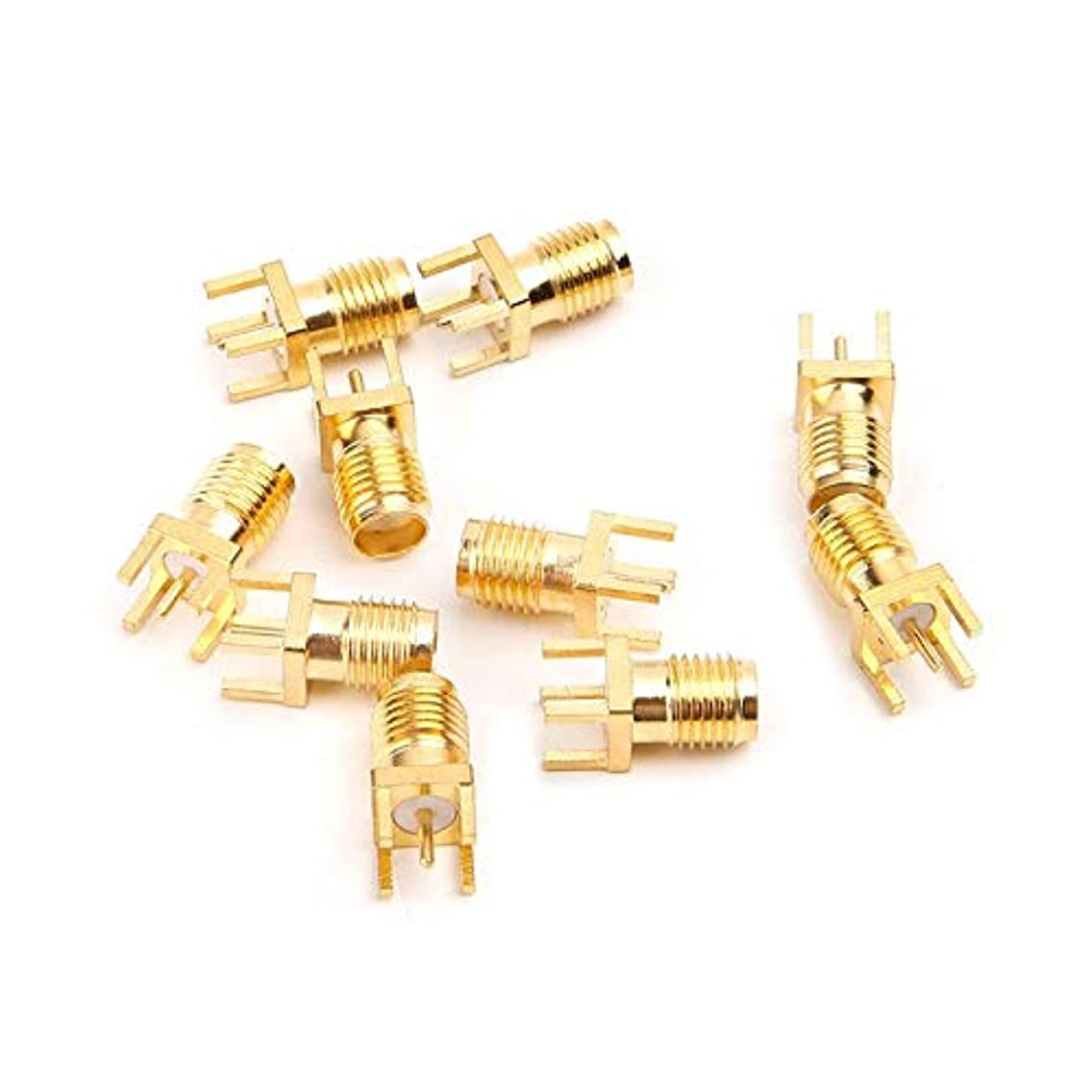 Gimax 10pcs SMA Female Jack Solder PCB Board Mount RF Connectors Straight Adapter