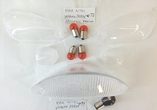 Kit de 4 clignotants + verre arrière transparent MBK Nitro Yamaha Aerox 97 – 99 – avec ampoules