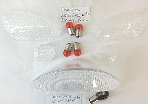 KIT 4 GEMME FRECCE + VETRO FANALE POSTERIORE TRASPARENTI MBK NITRO YAMAHA AEROX 97-99 - COMPRESE DI LAMPADINE