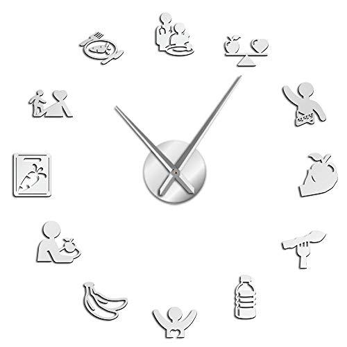 YHZY Nutrición De Alimentación Saludable DIY Reloj De Pared con Superficie De Espejo 3D Cuidado De La Nutrición Reloj Silencioso Ajustable Cocina Comedor Art-Silver_47 Pulgadas