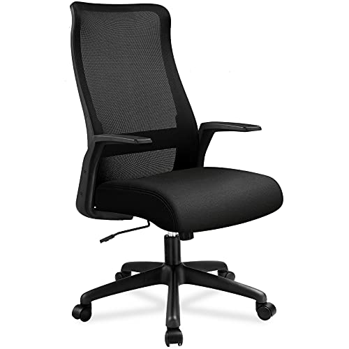 ComHoma Office Chair Ergonomic High Back Mesh Computer Chair Home Office Desk Chair Executive Swivel Chair with Adjustable Seat Height Thick Seat Cushion Black