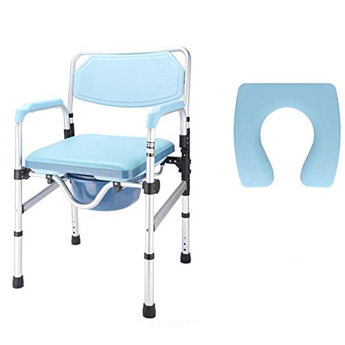 Ducha Transporte Silla Baño Inodoro Cómoda Bariátrica-Aluminio Ajustable, Anciano/Mujer Embarazada/Persona con Discapacidad Silla para IR Al Baño Móvil,2