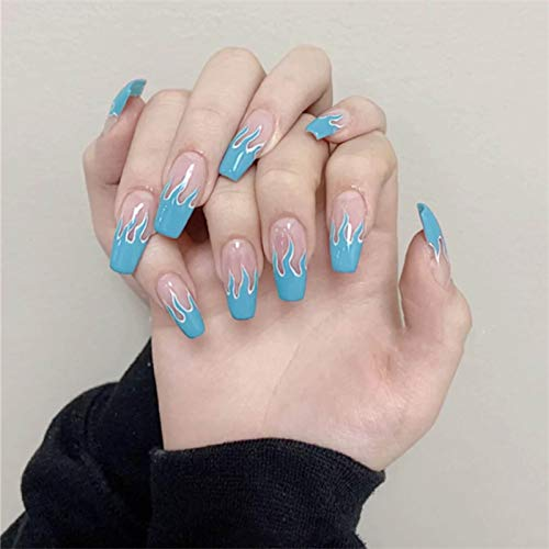 TseanYi Long Coffin Press on Nails Flame Fake Nails Clear Blue Ombre Clip on Nails Full Cover Acrylic Nails Tips False Nails Art for Women and Girls 24 Pieces (Blue)