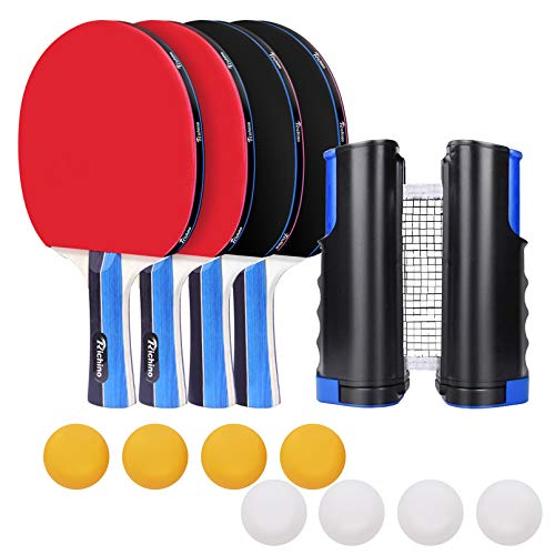 Richino Tischtennis Set mit 4 Tischtennisschläger/Schläger,8 Tischtennisbälle,61.8in Ausziehbare Tischtennisnetz für Anfänger Familien Profis