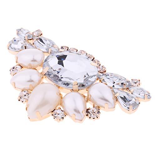 B Blesiya Clip de Zapatos con Diamantes Artificiales Triangular Hebilla de Encanto para Calzado Plano/Tacón Alto de Novia - champán