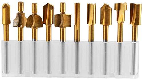 10 stücke Schaftfräser Bits Hartmetall Schaftfräser Leiterplatten Gravur Bits Grate CNC Rotary Grate Set mit Titan Coat Fräsen Werkzeug Sets für PCB Kunststoff Fiber Carbon Faser Hartholz(0,8-3,17mm)