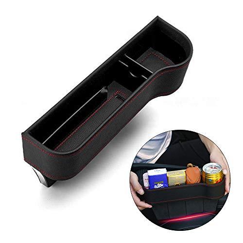 Guanici Autositz Tasche Schlitz Tasche Gap Catcher Aufbewahrungsbox Ablagefach mit PU Leder für Die meisten Auto Speicher Brieftasche Telefon Münze Zigarettenschlüssel Karte Tasse (Richtig,Schwarz)
