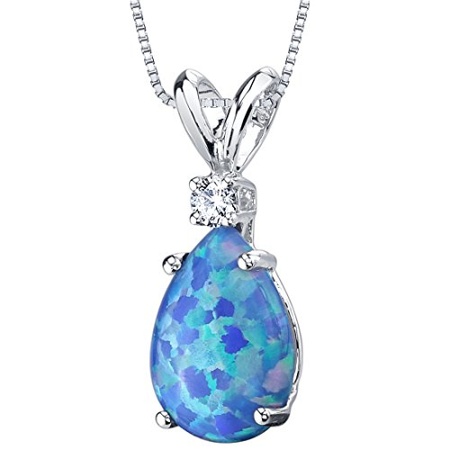 Peora Created Blue Opal with Genuine Diamond Pendant in 14K White Gold, Elegant Teardrop Solitaire, Pear Shape, 10x7mm, 1 Carat total