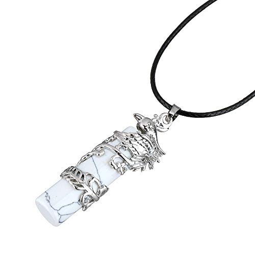 Stone Pendant Necklaces For Women,Vintage Silver Phoenix Wrapped Natural Stone Turquoise Pendant Necklaces With Leather Chain Christmas Ornaments Gift For Women Men