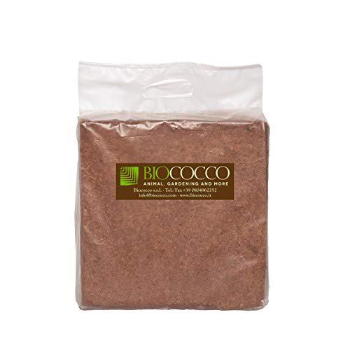 Biococco 5 kg Block Fine Humus per Terrari derivati dal Cocco Confezione Singola da 5 kg, sviluppa Fino a 70 Litri di Materiale
