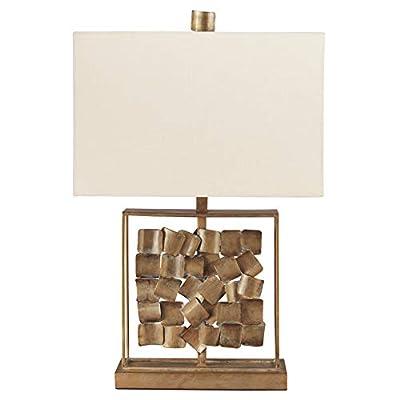 Signature Design by Ashley - Mahala Metal Table Lamp - Sculptural Base - Vintage Chic - Antique Gold Finish