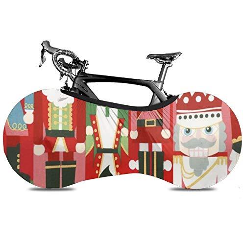 Bolsa de almacenamiento para bicicleta de Navidad Golden Retriever portátil de interior antipolvo de alta elasticidad de la rueda de la cubierta protectora de la rueda de la bicicleta Rip Stop de la carretera MTB, Cascanueces Christmas Time 2, talla única