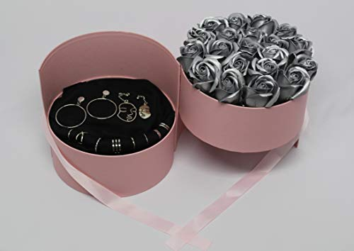 Caja de doble capa – Regalo – Mujer – Joyas – Rosas – Relojes – Pendientes – Collares – Pulseras – Color plateado