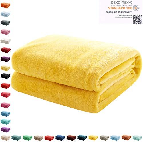 Mixibaby Kuscheldecke Flauschige extra weich & warm Wohndecke Flanell Fleecedecke, Falten beständig/Anti-verfärben als Sofadecke oder Bettüberwurf, Maße Decke Sarah:150 cm x 200 cm, Farbe:Gelb