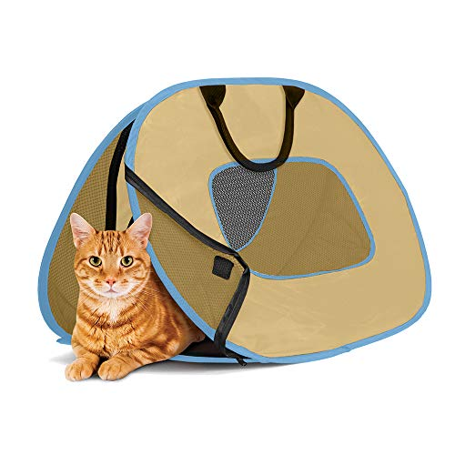 SportPet Designs Cat Carrier with Zipper Lock- Foldable Travel Cat Carrier