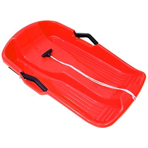 VICASKY Trineos de Nieve de Plástico Tobogán Deslizador Barco Tabla de Esquí Hierba Tabla de Arena Tablas de Esquí para Niños Adultos Al Aire Libre Invierno Rojo