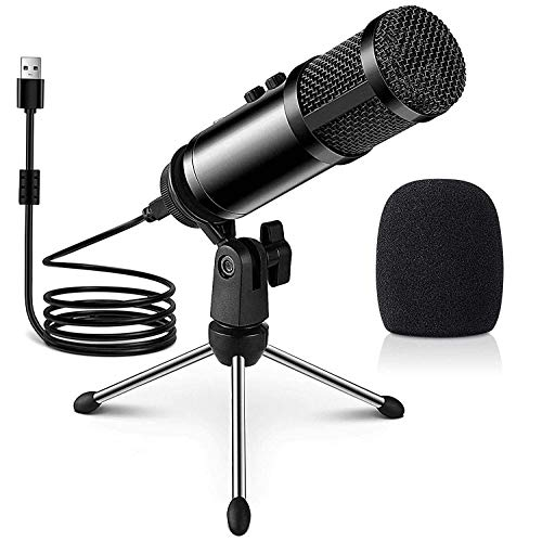 Multipurpose Condenser Microphones,USB Gaming Microphone,Compatible with Laptop Desktop Windows PC & Mac,Plug&Play Microphone with Desktop Stand for Broadcasting,Meeting,Voice Overs and Streaming