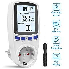 Gafild d'énergie de mesure de l'énergie, appareil de mesure de l'énergie numérique couteau avec grand écran LCD et l'analyseur d'électricité avec sécurisation de la surcharge, zones de facturation en partage de temps, 3680W