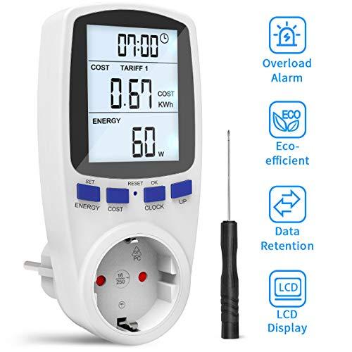 Gafild Energiekostenmessgerät, Digitaler Energiekosten Messer Strommessgerät mit Großer LCD-Bildschirm und Elektrizitäts Analysator mit Überlastsicherung, Time Sharing Abrechnungsbereiche, 3680W