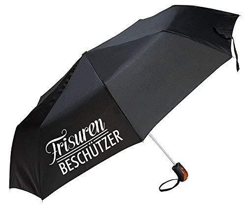 Gilde Regenschirm/Taschenschirm mit lustigem Spruch zum Wetter - 3 Farben und 6 Sprüche zur Auswahl (Frisuren Beschützer schwarz)