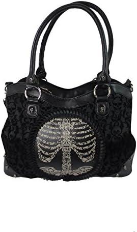 Lost Queen Black Goth Steampunk Flocked Ribcage Skeleton Cameo Handbag Shoulder Bag Large product image