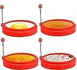 Anneaux d'œufs en silicone, 10,2 cm, sans danger pour les aliments, revêtement antiadhésif, œufs au plat, crêpes, sandwichs pour le petit-déjeuner, anneau de muffin aux œufs, rouge, 4 pièces