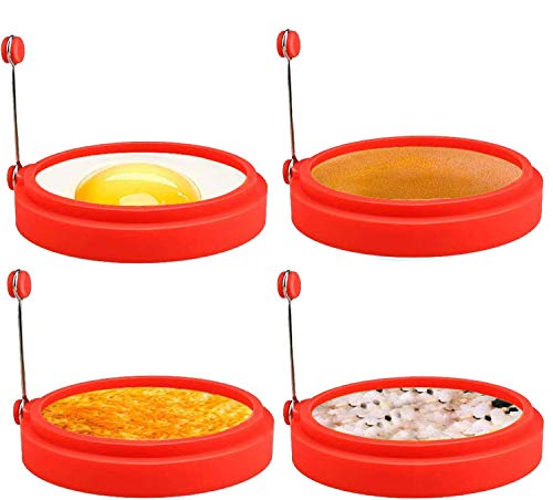Anillos de Silicona Para Huevos, Cocina de Huevos de Grado Alimenticio de 4 Pulgadas, Molde Antiadherente Para Huevos Fritos, Sándwiches de Desayuno de Panqueques, Anillo de Huevo Mcmuffin (Rojo)