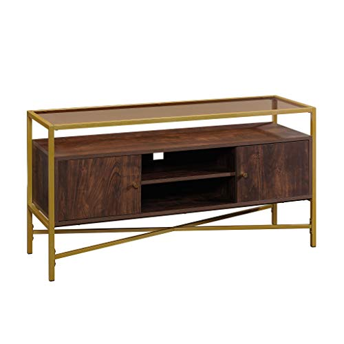 "Sauder Harper Heights Contemporary Glass-Top TV Credenza with Doors, L: 48.82"" x W: 15.55"" x H: 25.0"", Rich Walnut"