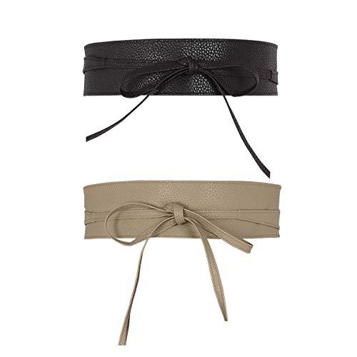 CHIC DIARY Damen Fashion Gürtel Breiter Taillengürtel Hüftgürtel Bindegürtel Ledergürtel in vielen Farben, Schwarz+beige, Einheitsgröße