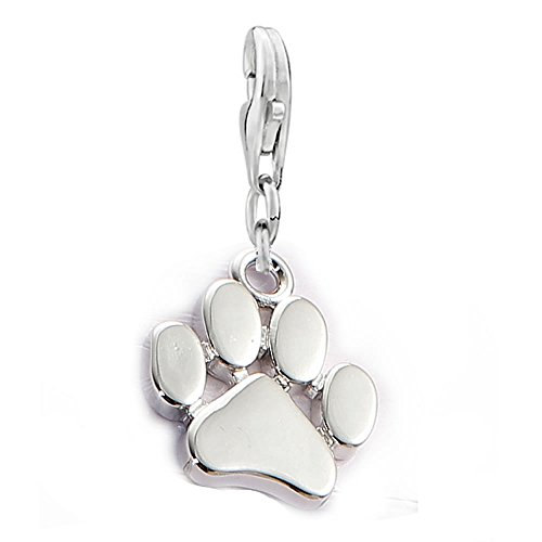 Sexy Sparkles Clip on Dog Paw Charm Dangle Pendant for European Clip on Charm Jewelry with Lobster Clasp