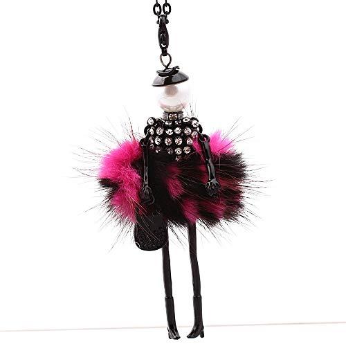 weichuang Pullover Kette Damen Strass Halskette Niedlich Kleid Puppe Pullover Kette Lange Halskette Mädchen Anhänger Flauschige Pulloverkette (Metallfarbe: Grün)