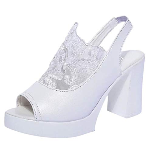 Learn More About Women's Summer Peep Toe Leather Lace Cutout Slingback Chunky Platform High Heel San...