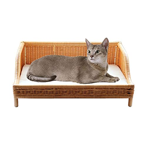 DUTUI Pet Artificial Rattan Sofa Soft and Comfortable Cat Bed Kennel Pet Nest, with Soft Inner Core, Removable and Washable,Beige