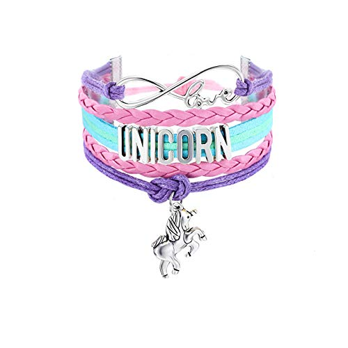 MTLEE 2 Pieces Unicorn Bracelet Bangle Handmade Leather Love Unicorn Charm Infinity Bracelet with Gift Box (Colorful and Pink Unicorn)