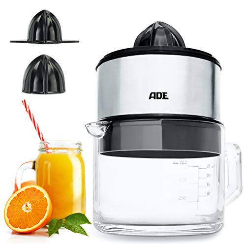 ADE KA1803 KA 1803 elektrische sappers + hoogwaardige glazen karaf (citruspers met 60 watt motor, BPA-vrij, automatische start-stop-functie), zilver, inoxideble,