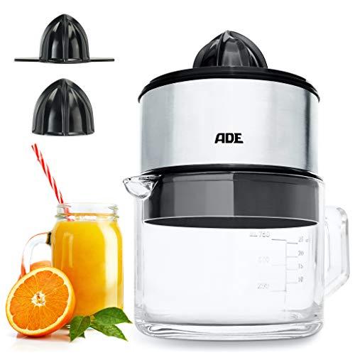 ADE KA1803 KA 1803 Saftpresse elektrisch + hochwertige Glaskaraffe (Zitruspresse mit 60 Watt Motor, BPA-frei, Start-Stopp-Automatik) silber, Inoxidable,
