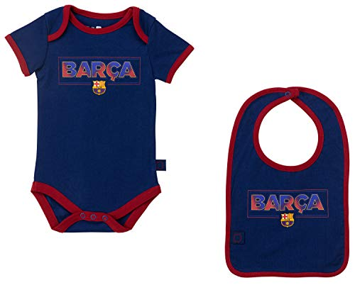 FC Barcelona Set Body + Lätzchen Barca Baby – Offizielle Kollektion 3 Monate