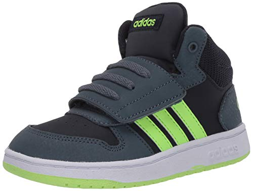 adidas Baby Hoops 2.0 Mid Basketball Shoe, Ink/Green/Legacy Blue, 3 US Unisex Infant