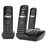 Gigaset AS690A Trio - 3 Schnurlose Telefone mit Anrufbeantworter - großes, kontrastreiches Display - brillante Audioqualität - einstellbare Klangprofile - Freisprechfunktion - Anrufschutz, schwarz