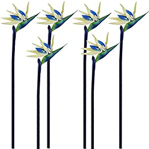 "Qingriver 6 Pcs 32"" Artificial Bird of Paradise Flowers Plants for Home Garden Wedding Party Decor"