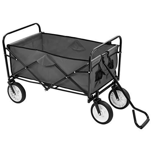 Carretilla plegable para jardín al aire libre con ruedas delanteras giratorias 360º, carga máxima: 75 kg, 92 x 52 x 118 cm, color gris