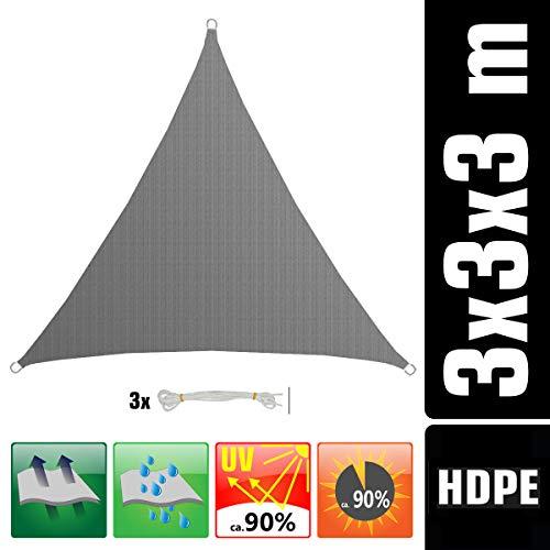 AMANKA UV Sonnensegel - 3x3x3 m HDPE Dreieck - Sonnenschutz Plane Überdachung Balkon Garten Grau