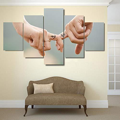 HD Prints 5 stuks Canvas Posters Wall Art foto slaapkamer Holding vingers liefde voor Weegschaal schilderijen woonkamer Home Decor Poster