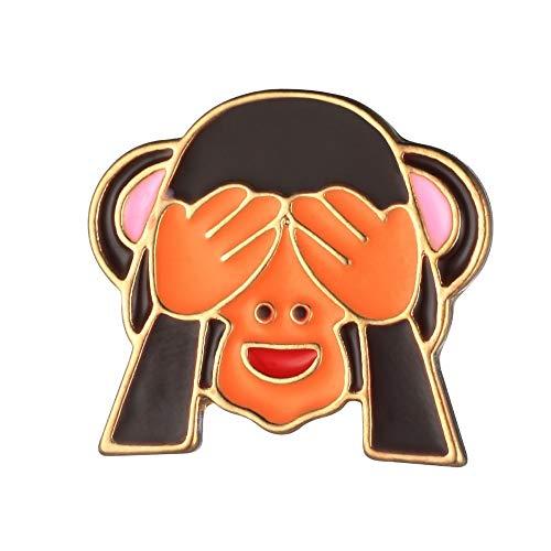 Null Karat Anstecker Anstecknadel Brosche Pin AFFE Emoji AFFE Monkey Nichts sehen schmuckrausch