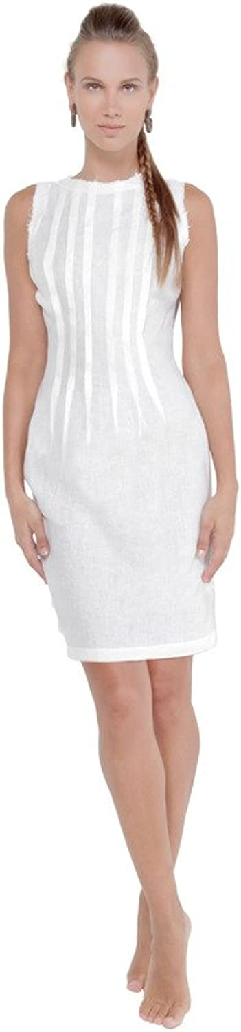 Claudio Milano Women's 100% Linen Classic Pleated Dress with Unfinished Edges