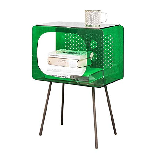 BYZHP Mesa Auxiliar Mesita de Café Mesa de café Mesa de acrílico Mesa de Extremo Moderno con Mesa de Almacenamiento Tabla de Esquina de sofá para Oficina Oficina Oficina (Color : Green)