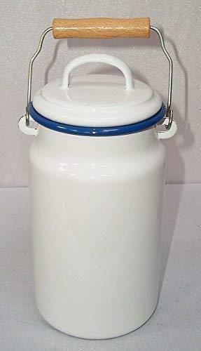 linoows Milchkanne, Emaille Milchkanne, Henkelkanne mit Deckel, weiß- blau, 2 Liter