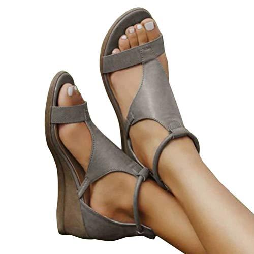Minetom Frauen Keilabsatz Sandalen Sommer Offene Schuhe Faux Leder Plattform Rom Damen Flip Flops Freizeit Sommerschuhe A Grau 38 EU