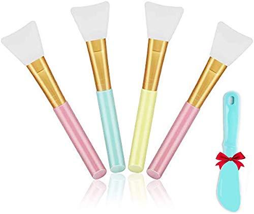 4 UNIDS Cepillo de Mascarilla de Silicona Cepillo Aplicador de Mascarilla Facial Mascarilla Premium Piel Cepillos Suaves Máscara Aplicador Máscara de Lodo Pincel(Multicolor)
