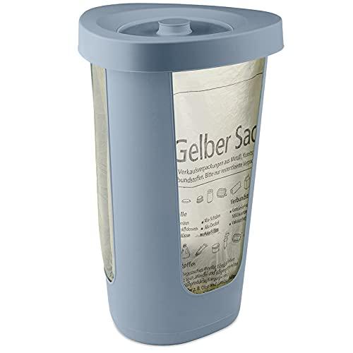 *Rotho Fabu Müllsackständer gelber Sack mit Deckel, Kunststoff (PP recycelt), blau, 40 cm*